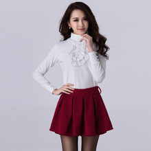 Buy 2017 Autumn Fashion Women Shorts Pants Elastic Waist Pleated Overlay Solid Color Pantskirt Black/Red/Green Plus Size Mini Skirt for $15.98 in AliExpress store