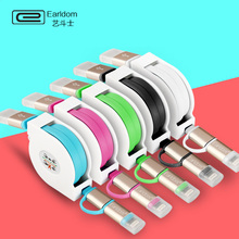 2016 Colorful 2 in 1 usb cable Data Fast Charger Retractable Micro USB Cable for iPhone 5 6s Plus Samsung mobile phone cables