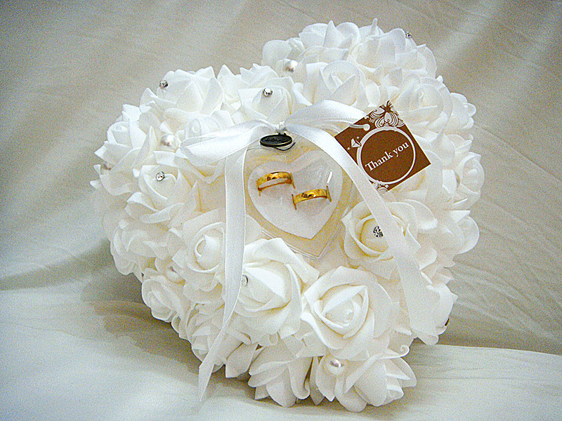 Wedding Favors Ring Pillow With Transprent Ring Box 5 Color Heart Design Very Special Unique Wedding Ring Cushion Decorations(China (Mainland))