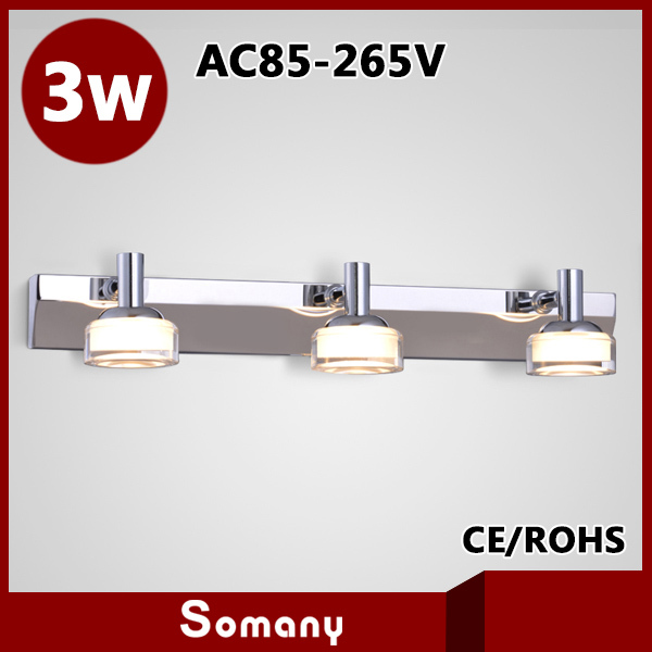 2014 High Quality Bathroom Stainless Steel 460mm 3 Heads Frosted Crystal Lampshade 3W Led Wall Lamp Mirror Light Decor Sconce <br>