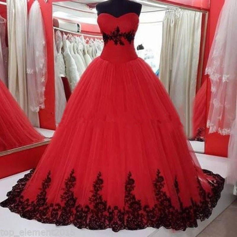 Popular Black and Red Plus Size Wedding Dresses-Buy Cheap Black ...
