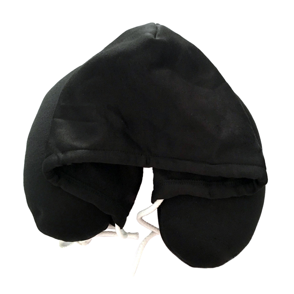 4 Colors Available, U Shaped Neck Hooded Pillow Airplane Car Travel Headrest with Drawstrings
