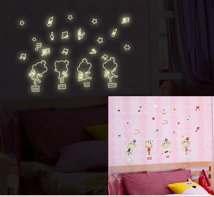 Happy Monkey Noctilucent Stickers Kids Room Luminous Fluorescence Glow Dark Nursery Baby Bedroom Decor DIY Wall Decal - Leo store