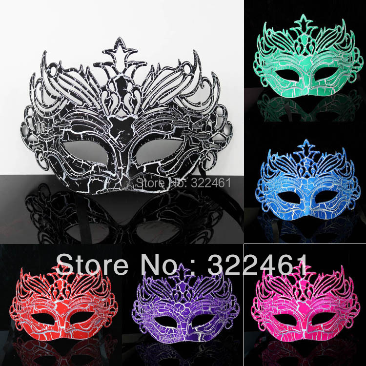 Free by EMS 12doz/lot Halloween Masquerade party Masks/ Crack Crown Venetian Christmas 6 colors option(China (Mainland))
