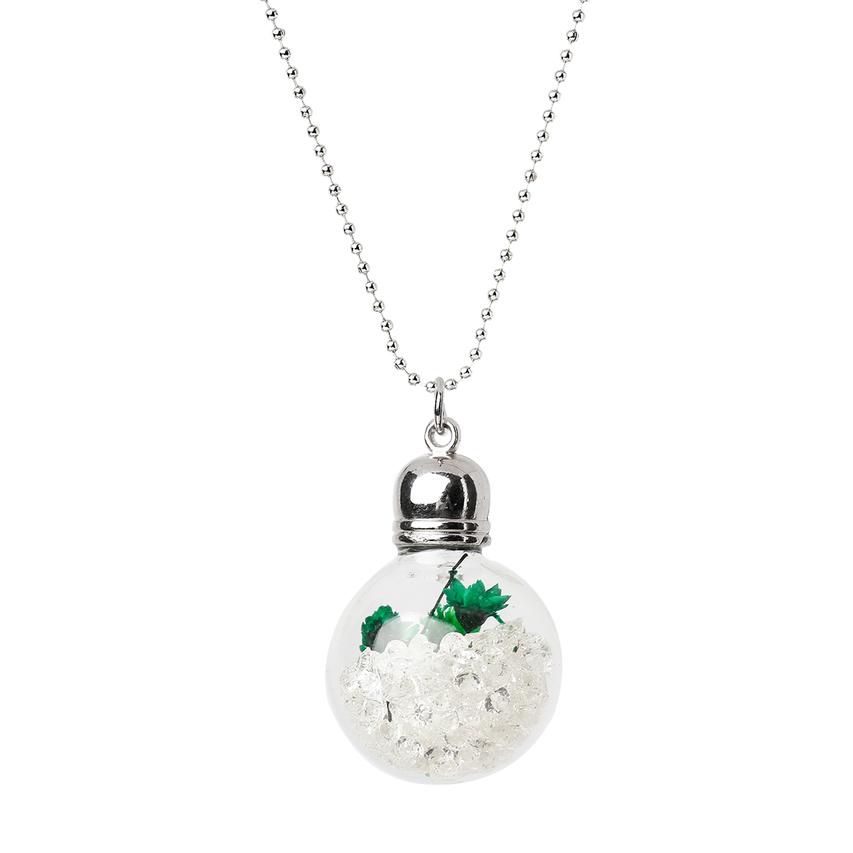 """Glass Bottle Necklace Ball Chain Silver Tone Green Dried Flower Pendant Clear Rhinestone 60.5cm(23 7/8"""")long,1Piece 2015 new(China (Mainland))"""
