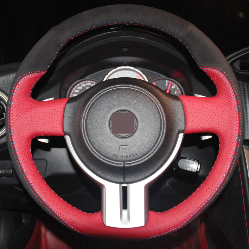 XuJi Red Genuine Leather Black Suede Steering Wheel Cover for Toyota 86 BRZ Car Special Hand-stitched Covers(China (Mainland))