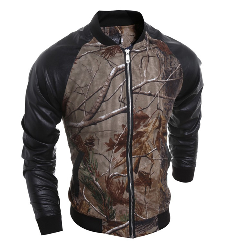 2016 Spring Men's Jackets Tactical Soft Shell Camouflage Outdoor Jacket PU Patchwork Sleeve Army Sport Clothes Men Jacket LQ247(China (Mainland))