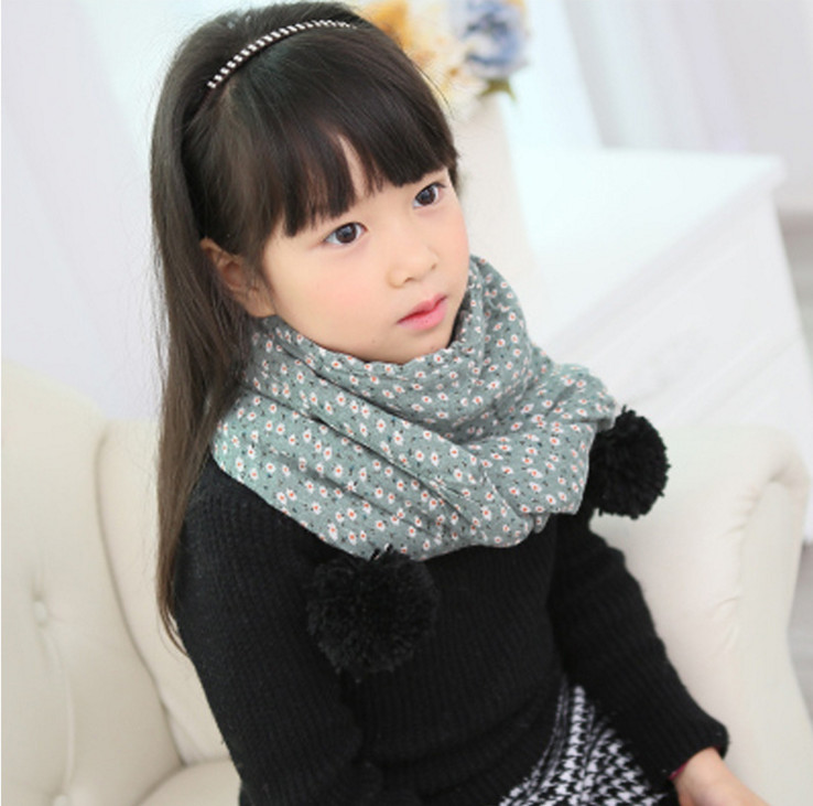 the fall and winter of 2016 high quality children's scarf private baby floral cotton ball ball warm scarf collar foreign trade(China (Mainland))