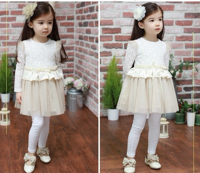 Kids clothes Children dress cotton lace Girls Dress Spring and Autumn princess children's dresses Free Shipping(China (Mainland))