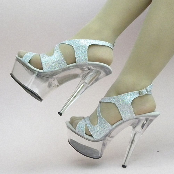Фотография 15cm Colorful Sexy High-Heeled Shoes Crystal Sandals Shoes 6 Inch Stiletto High Heels Clear Platforms Silver Glitter Sexy Shoes
