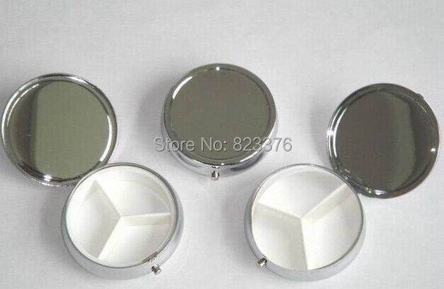 100PCS Silver Plated Protable Metal Pill Boxes Travel Medicine Organizer Container Metal Mini Jewelry Box Case, Via Fedex/EMS(China (Mainland))