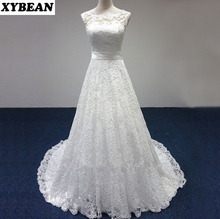 Cheap Price ! 2017 New Free Shipping cap sleeve lace sashes A Line White / Ivory Wedding Dresses FS087(China (Mainland))