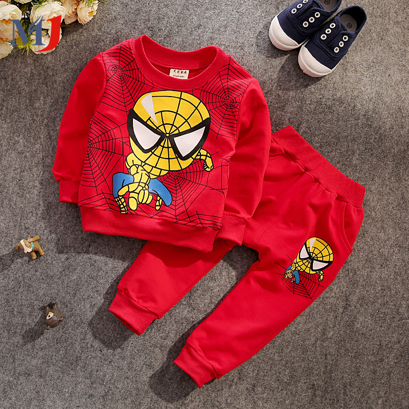 Retail New Spring Autumn Children's Clothing Suits Spider-Man Sunflower Children Hoodies + Pants Kids Tracksuit Boys Clothes Set(China (Mainland))