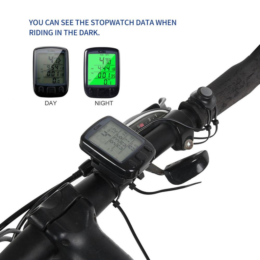 2017 Sunding SD 563B Waterproof LCD Display Cycling Bike Bicycle Computer Odometer Speedometer Green Backlight New Style