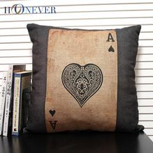 Retro Black Ace Cushion Cover Linen Cotton Spades Throw Pillow Covers Pillowslip Cushion Cover