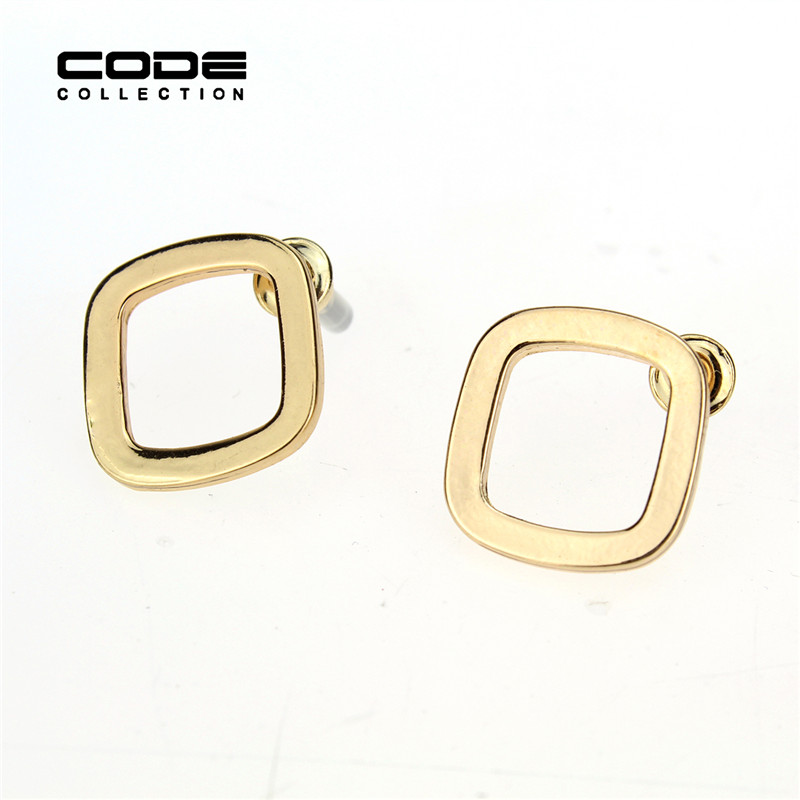 High Quality Gold Plated Copper Earrings For Women Small Earrings Brincos Square Frame Jewelry Simple Earing Studs For Ladies(China (Mainland))