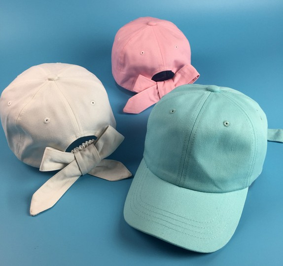 Fashion Women Cute Bowknot Curved Hat Summer Solid Candy Color Sun-shading Baseball Cap Female Cotton Visors Golf Lovely Hats(China (Mainland))