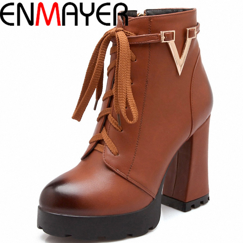 ENMAYER Motorcycle boots Fashion Women Ankle Boots Vintage Thick High Heels Lace up Snow Boots Platform warm Women Boots