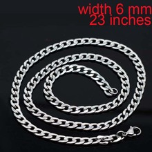 stainless steel 316L never fade 23 19 inches men male husband chain necklace chocker 5mm 6mm