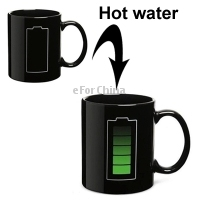 New Arrival Heat Sensitive Battery Color Changing Porcelain Cup Coffee Mug with Handle