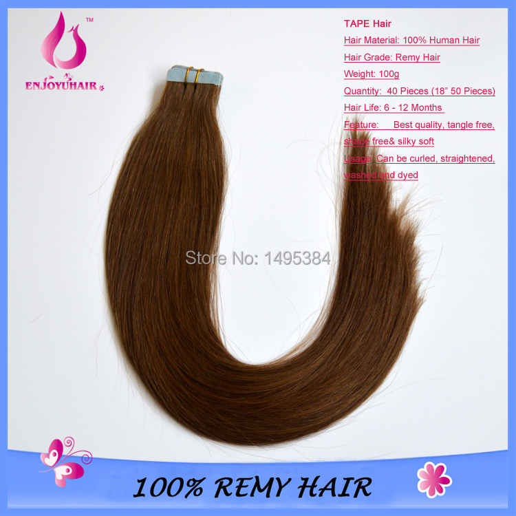 "2015 new18""20""22"" 24"" straight Tape Hair Extensions THICK END/Indian Remy Hair Extensions Skin wefts/adhesive hair DHL(China (Mainland))"