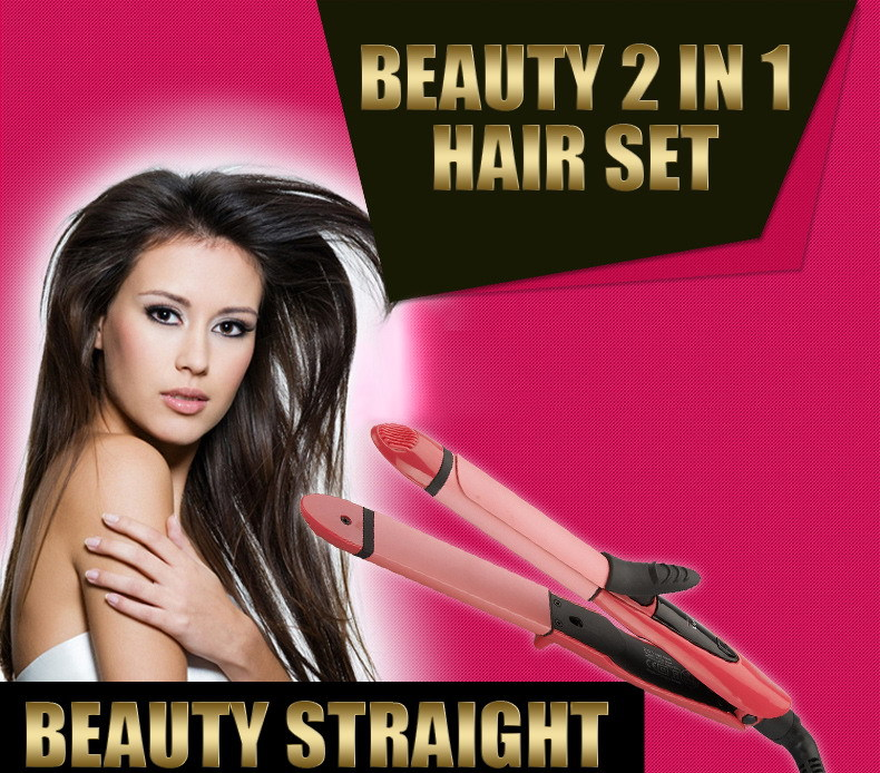 2015 Free Shipping Styling Tools Tourmaline Ceramic Hair Curler Beauty 2 in 1 Curler Hair Straightener Curling Iron Curling Hair(China (Mainland))