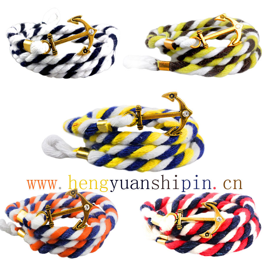 2015 Navy Diy Winding Woven Bracelet Men Anchor Antique Gold Plating Multilayer And Women Zh5511(China (Mainland))