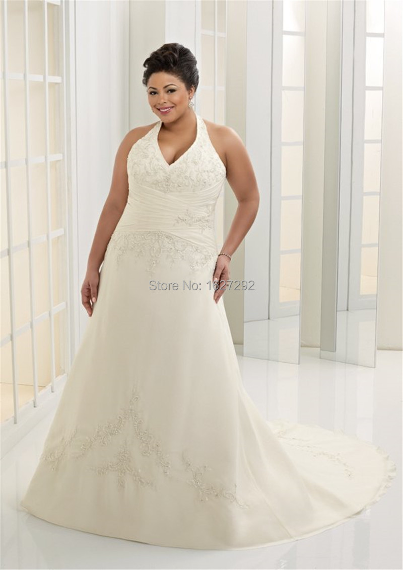 Custom made bridal gown appliques beading sequins plus for Plus size wedding dresses for cheap