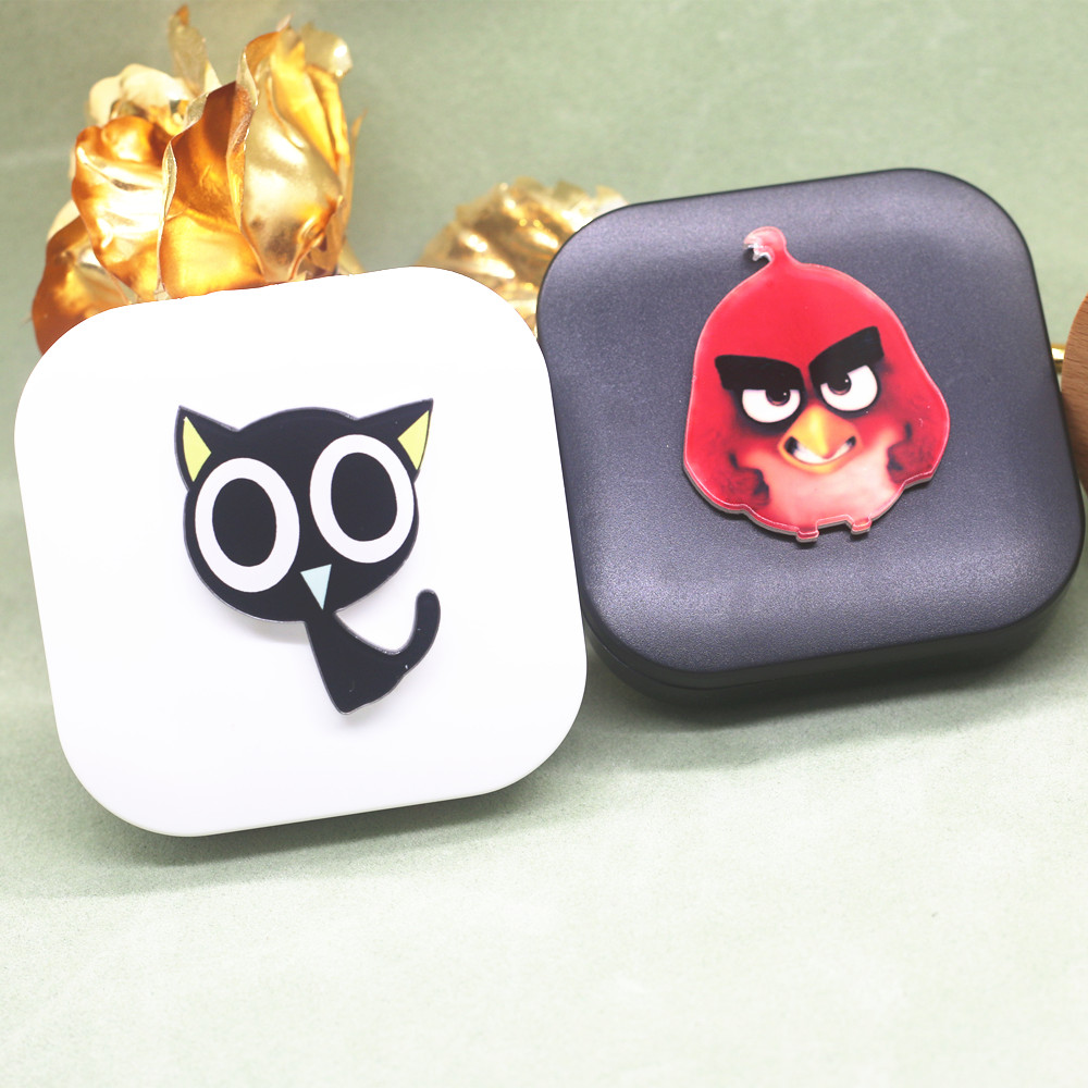 Merry Christmas DIY Acrylic CUTE Red Bird Black The Legend of LUOXiaohei Cat Contact Lens Box Case Free shipping ST16708(China (Mainland))