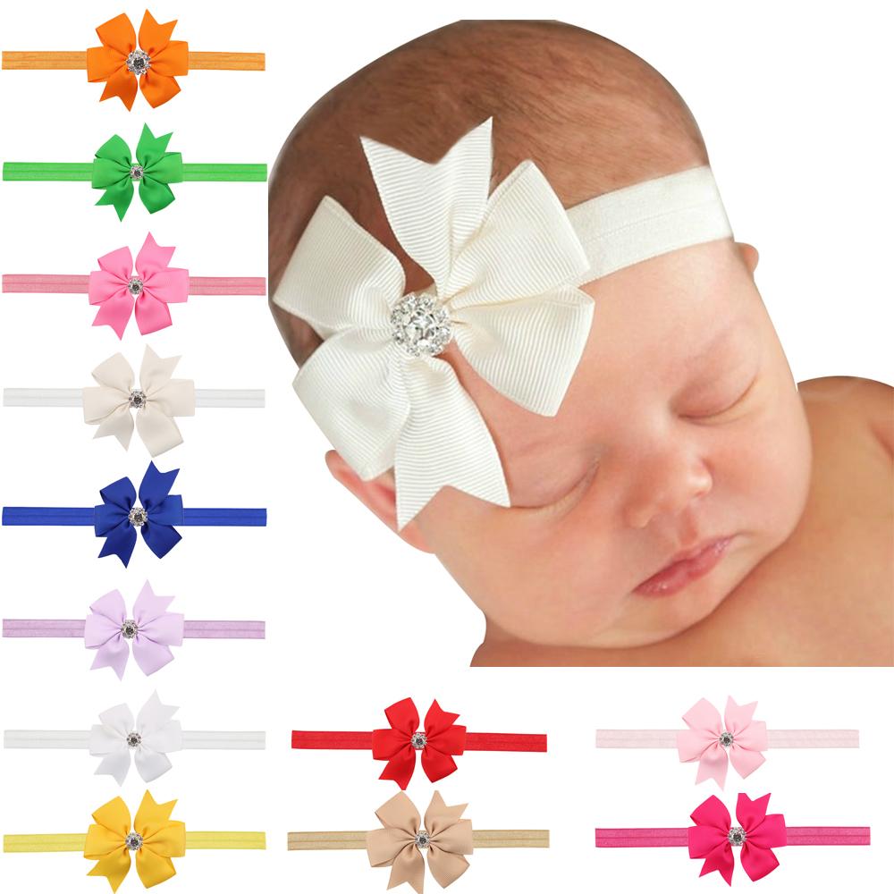 Cute Baby Toddler simple hair band rhinestone big bow elastic ribbon headband Hair Accessories(China (Mainland))