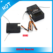 10pcs AR6200 2.4G 6Ch Receiver with Satellites for DX6i DX7 DX8 DX9 DSM2 quadcopter for free shipping