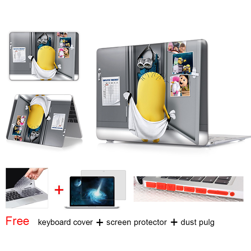 Minion Dressing Room Laptop Cover Case For Apple Macbook Air 11 13 Pro Retina 13 New 12 Inch Hard Shell Protective Case(China (Mainland))