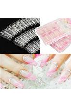 140PCS Clear Glaze Mosaic French False Nail Art Acrylic UV Gel Half Tips ALOM