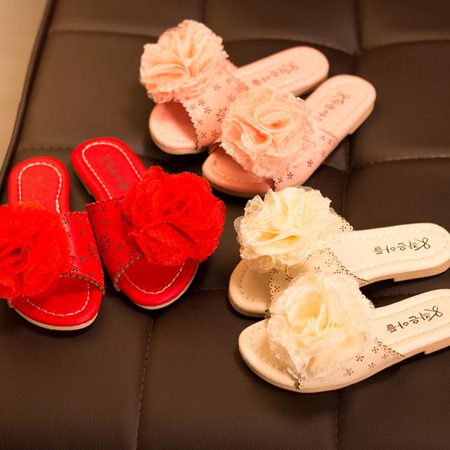 2016 лето новинка девушка обувь цветочниц слово тапочки сандалии тапочки пляж детская обувь на платформе 26 - 30