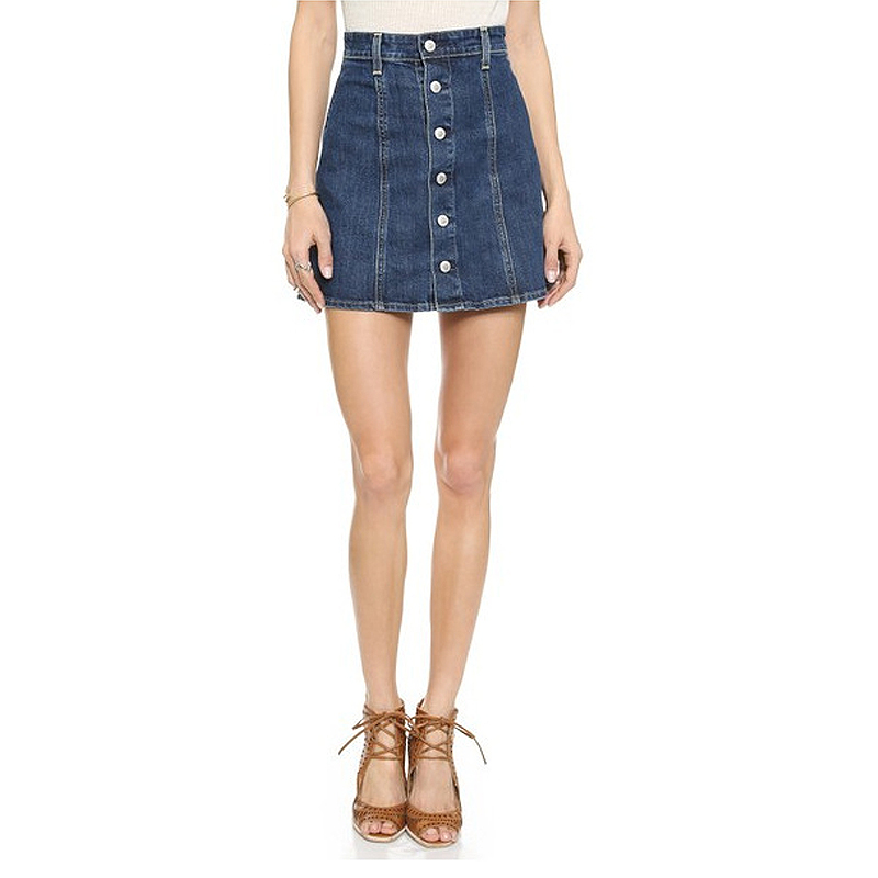 High Waisted Denim Skirt With Buttons - Dress Ala