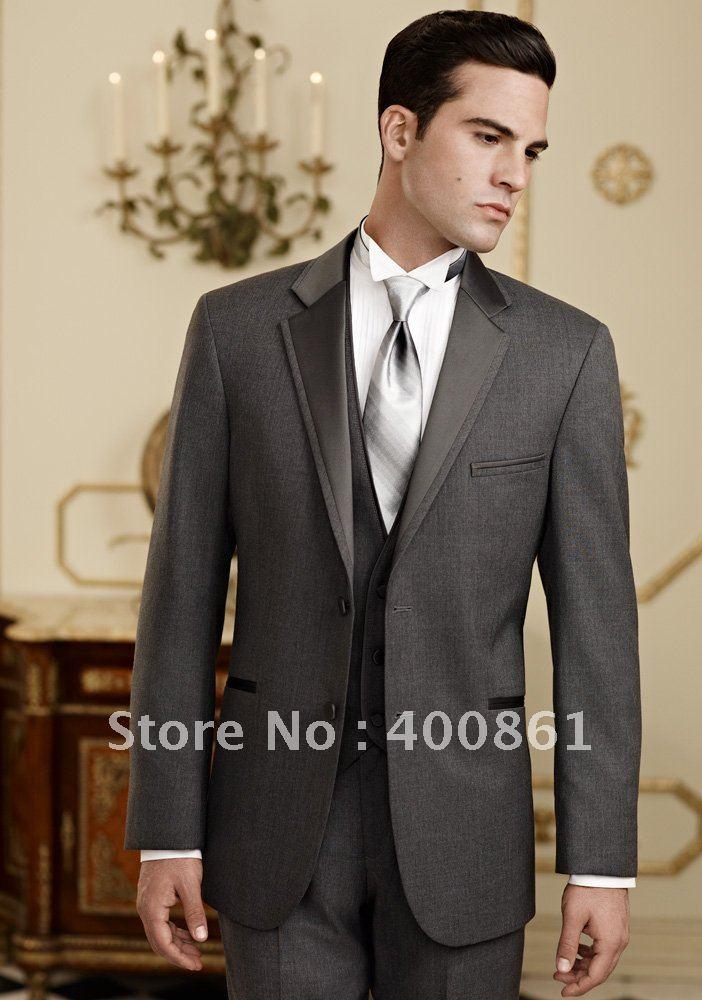 Best selling Groom Tuxedos Best man Suit Wedding Groomsman/Men Suits Bridegroom (Jacket+Pants+Tie+Vest) ok:55