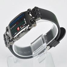 2015 Free shipping Cool 31 Colorful LED Binary Digital Wrist Watch men women Unisex Square Style
