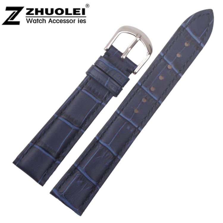 Wholesale 20mm Men`s Women Bule Genuine Leather Watch BANDS Strap Bracelets Silver Polished Clasp Buckle Free Shipping <br><br>Aliexpress