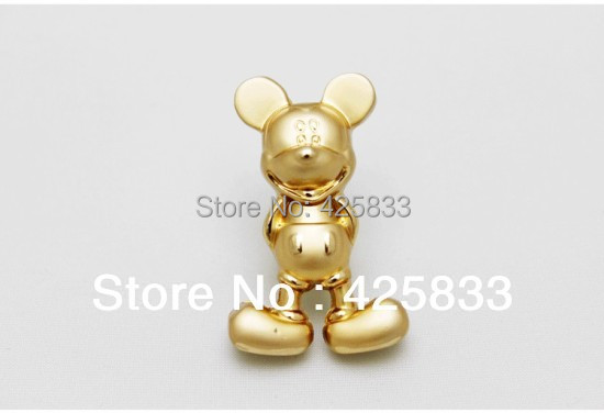 2pcs Golden Mickey Mouse Handles Kids Drawer Knobs for Kitchen Cabinet Knob Cartoon Closet Pulls Wholesale(China (Mainland))