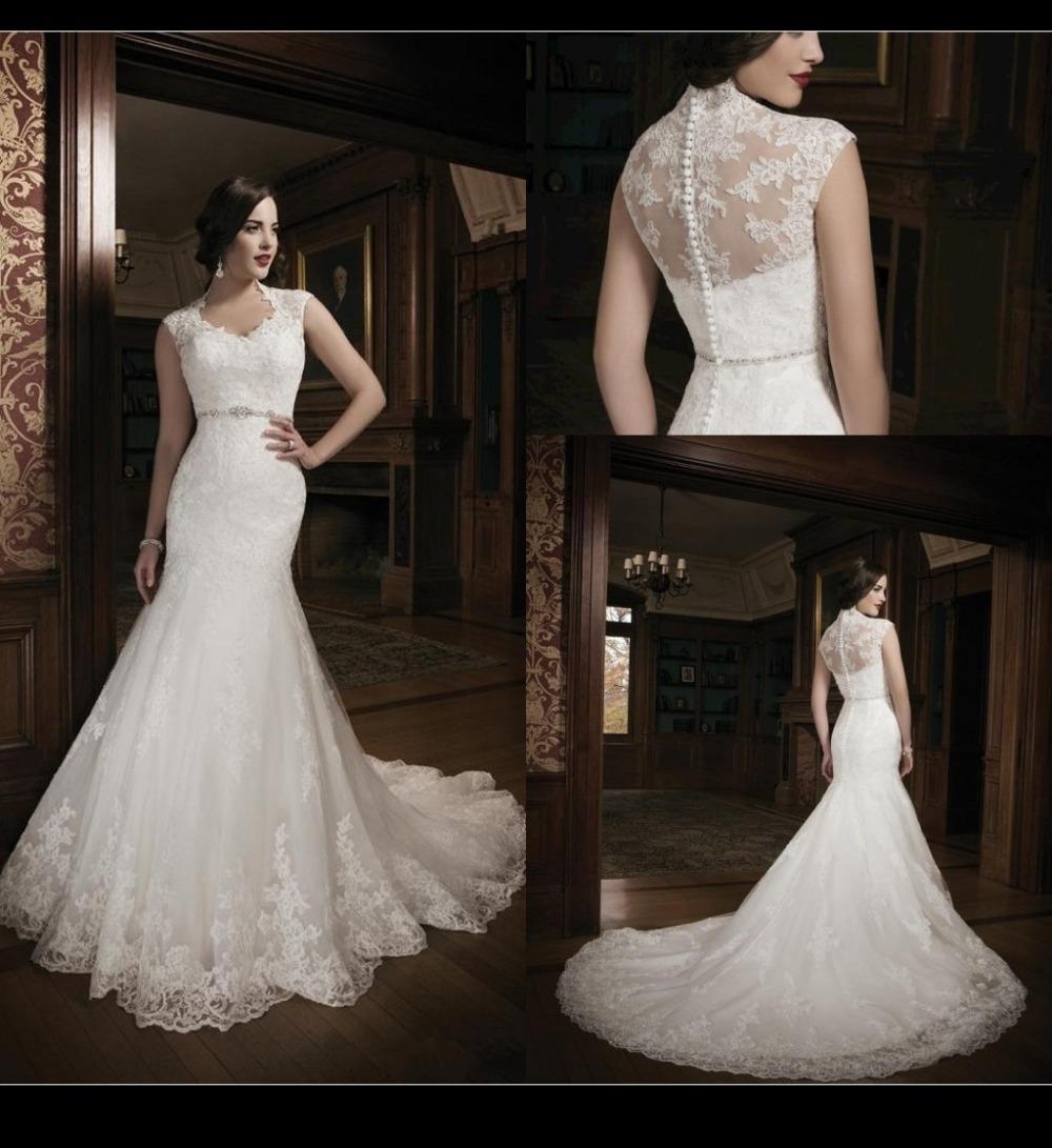 Aliexpress.com Comprar 2016 colección blanco de encaje de novia vestidos de novia con cuello en V corte sirena del tren vestidos robe de mariage vestido de