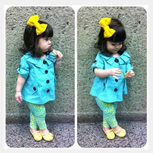 2015 Hot Sale Kids Clothes Tops+Pants Suit Children Baby Girl Summer Clothing Sets 2pcs/Set Children's Clothing(China (Mainland))