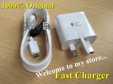 1lot/100% Original Adaptive Fast Charging UK Travel Wall Charger + 1.5M Micro Usb Data Cable For Samsung S6 S6+ Edge Note 4 5(China (Mainland))