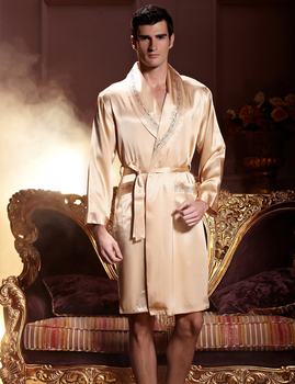 New Arrivel 2016 Real Imitation Silk V-neck Men Robes Comfortable Full Sleeve Robe Masculino Soft Male Sleepwear Solid Gold 7222