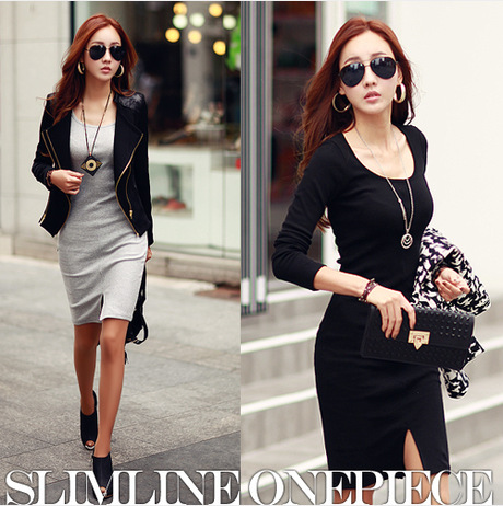 2015 new arrival slim fit women dresses female long-sleeved solid split hip tight knit dress top quality women dresses(China (Mainland))