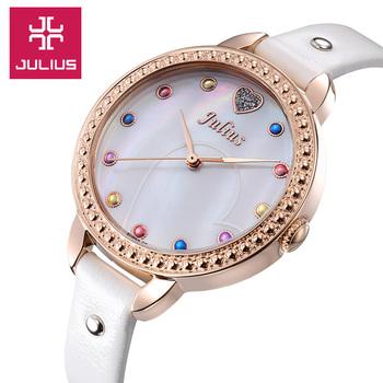 Julius Lady women's Wrist Watch Quartz Hours Best Fashion Shell Dress Kids Leather Bracelet Girl Christmas Children Gift JA-822