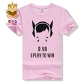 Lovely game character DVA T shirt D VA I PLAY TO WIN gamer tee shirt game