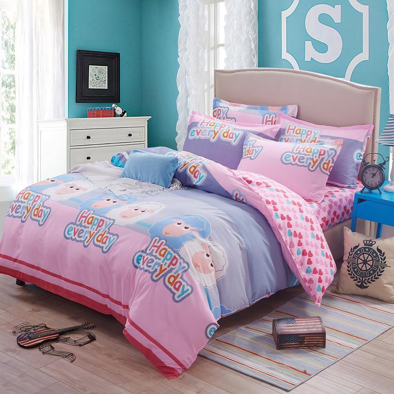 Cute bedding sets 4pcs cartoon cute sheep printed kids for Cute cheap headboards