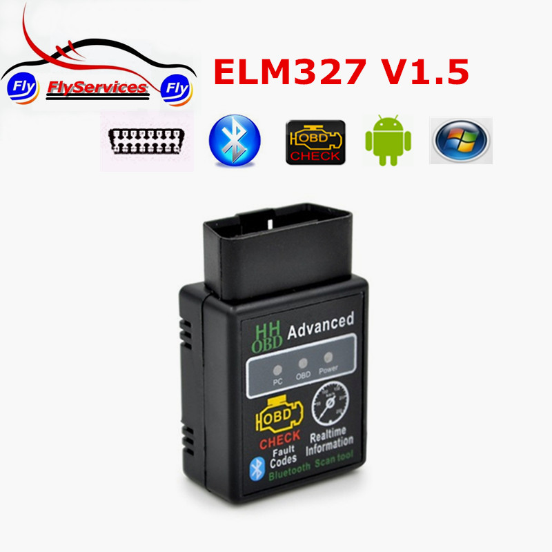 Latest Design HH OBD MINI ELM327 V1.5 Bluetooth OBD2 OBDII CAN BUS Check Engine HH ELM 327 With 25K80 Chip Auto Scanner Tool(China (Mainland))