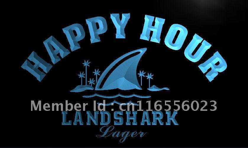 LA658- Landshark Lager Beer Happy Hour Bar Neon Sign home decor crafts(China (Mainland))