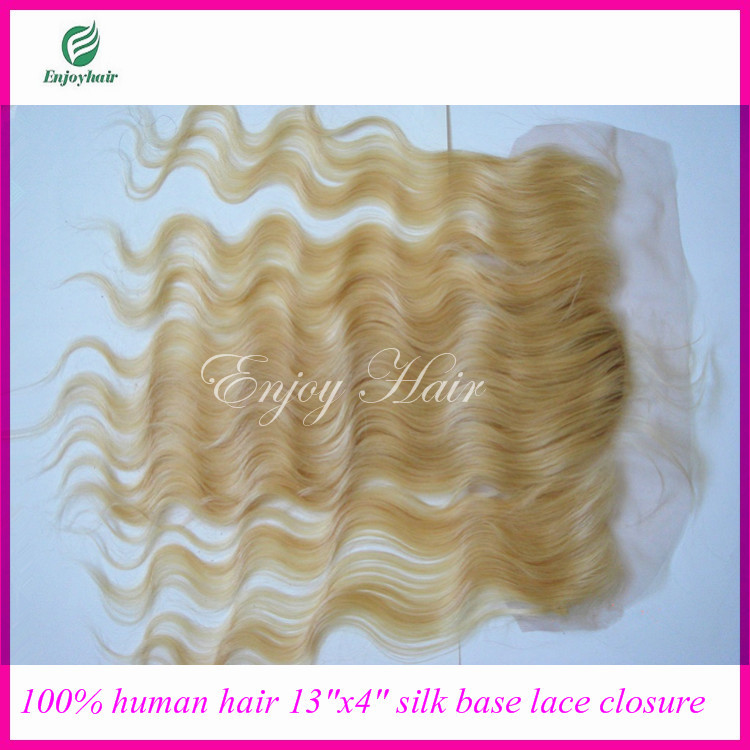 "silk frotnal closure malaysian hair silk Lace Frontal Closure 13x4"" Bleached Knots hair extension 613# color and body wave hair(China (Mainland))"